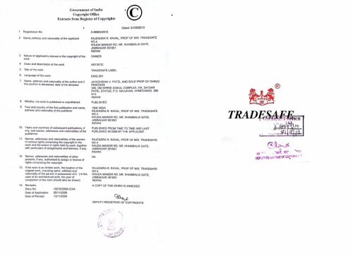 Copyright Registration Certificate - TRADESAFE