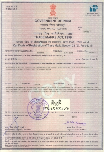 Trade Mark Registration Certificate - TRADESAFE