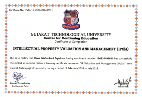 Certificate of Intellectual Property Valuer by Gujarat Technology University